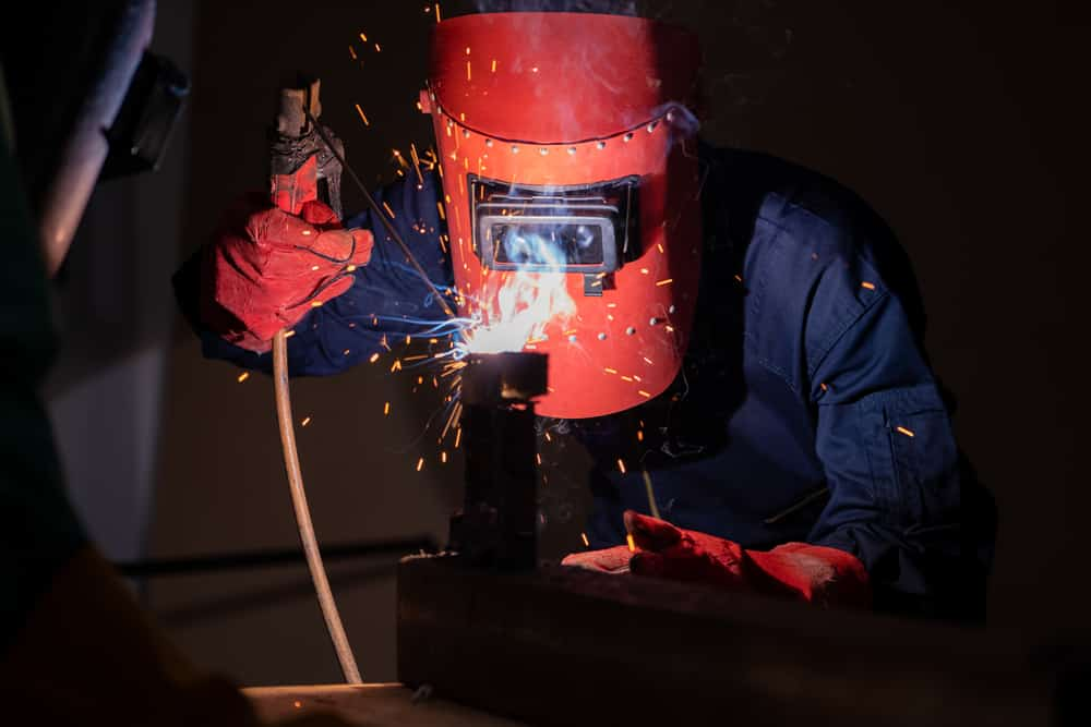 A hobby welder working on his welding projects