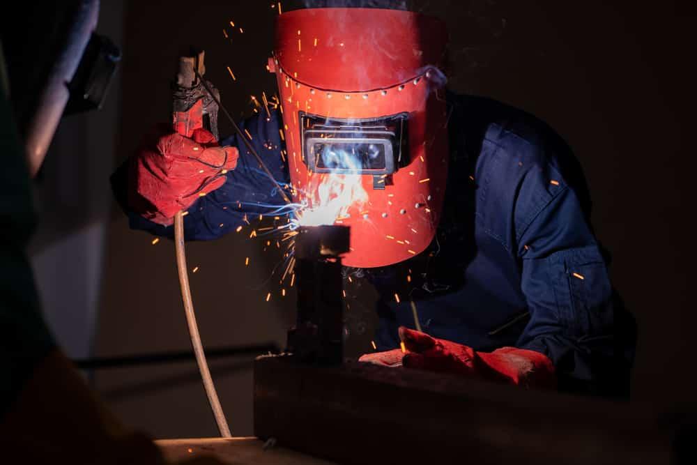 Hobby Welder Working on his Welding Project
