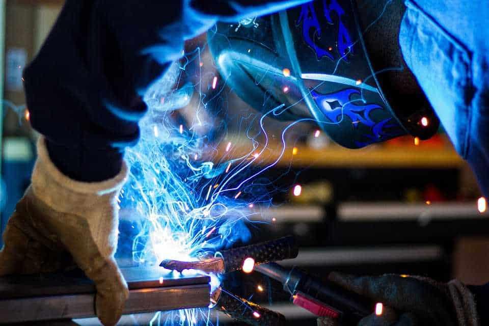 Welder Working With an Engine Driven Welder